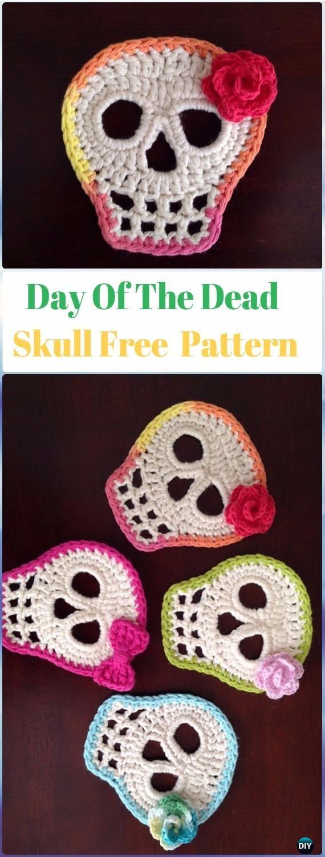 Crochet Day of the Dead Skull Motif Free Pattern - Crochet Skull ...
