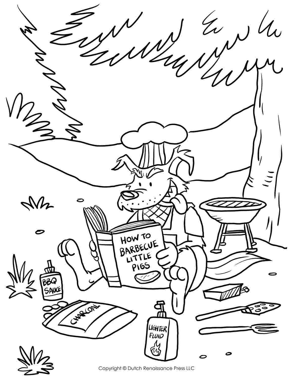 Three Little Pigs And The Big Bad Wolf Coloring Pages