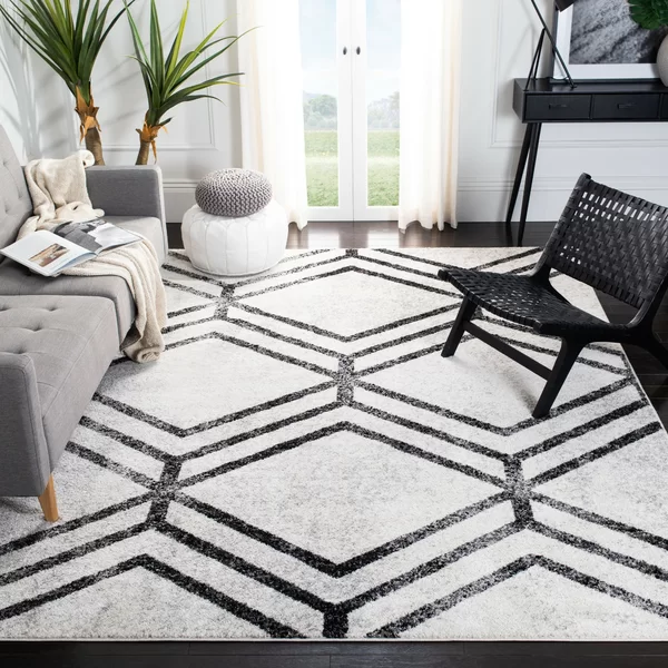 You Ll Love The Garfinkel Geometric Ivory Charcoal Area Rug At Allmodern With Great Deals On M In 2020 Vintage Oriental Rugs Living Room Area Rugs Geometric Area Rug #standard #living #room #rug #size