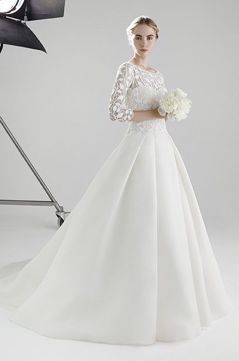 Ball gown wedding dress in silk organza with long sleeves and bodice ...