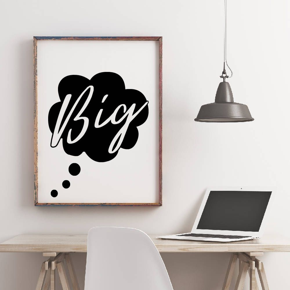 Typography dream big printable poster motivational inspirational