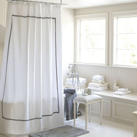 Amelie Embroidered Shower Curtain White Shower Curtain Shower