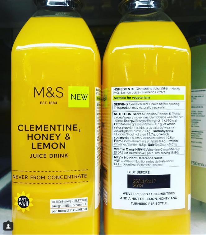M S Clementine Honey Lemon Juice Drink U K With Images
