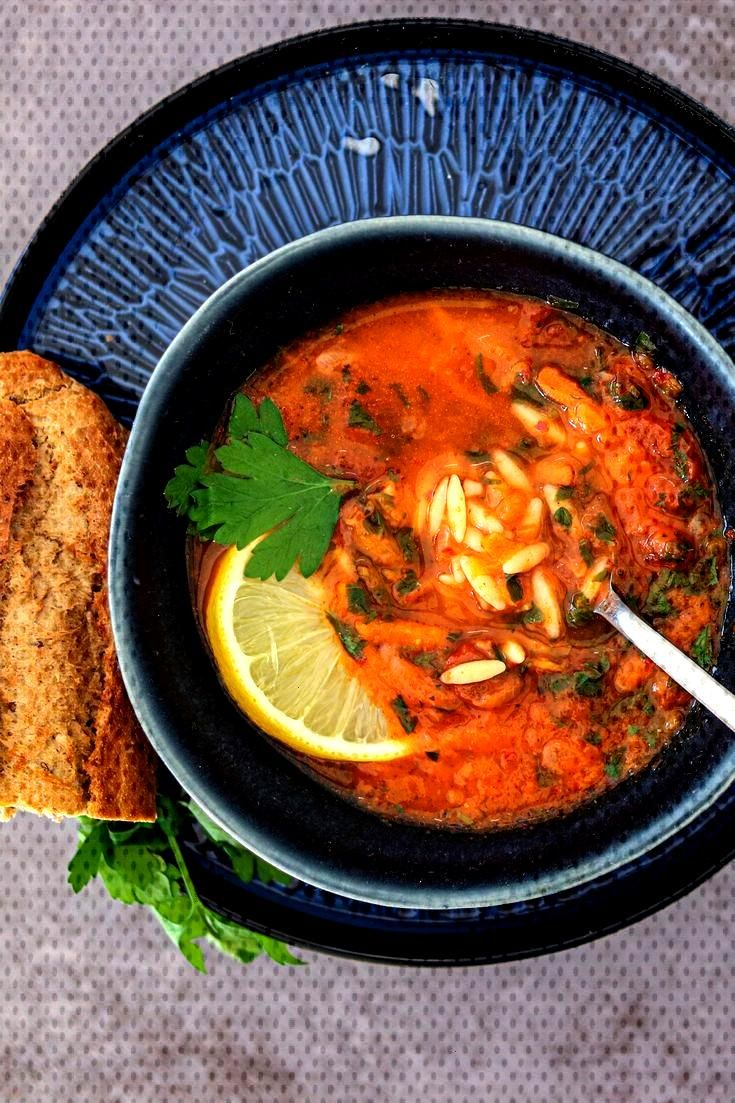 Lemon And Tomato Orzo Soup