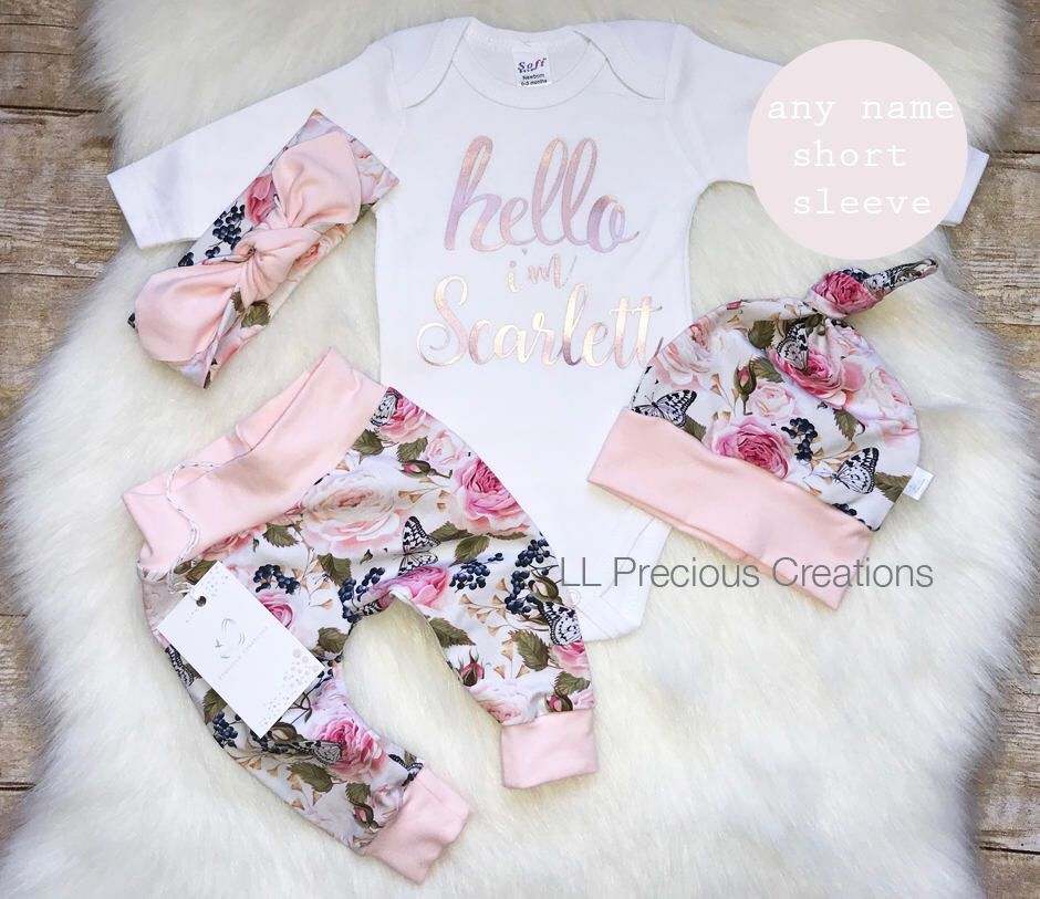 Photo of Baby Girl Coming Home Outfit Organic Hello World Outfit Newborn Girl Outfit Personalized Outfit Baby Girl Clothes Pink Floral Euro Print