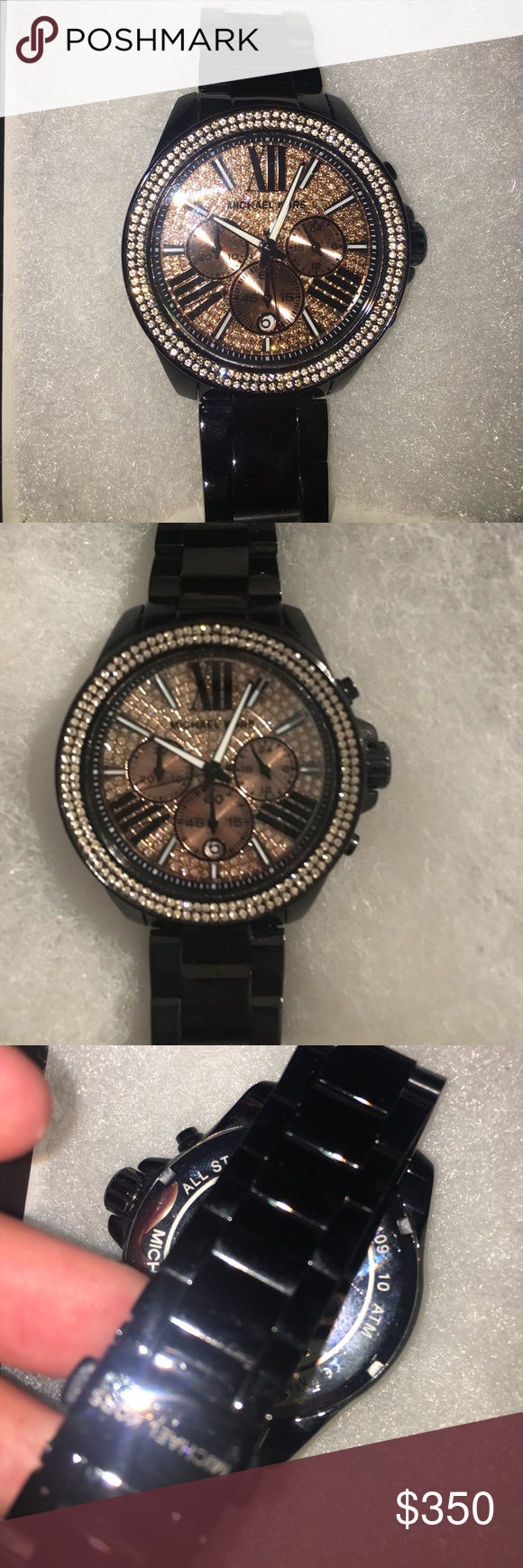 Michael kors blacks watch with rose gold diamonds In great condition Michael kors watch! I do have the box for the watch. KORS Michael Kors Accessories Watches