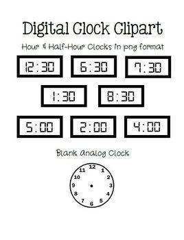 Telling Time Practice Worksheets Digital Hour Half Hour Clip Art