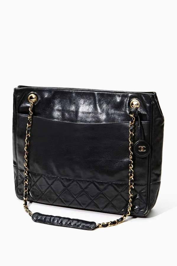 a944934e17 Nasty Gal Vintage Chanel Black Leather Tote on shopstyle.com ...