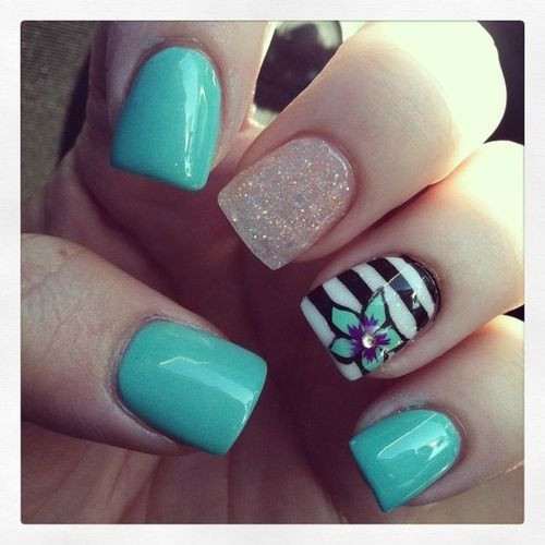Teal Striped Glitter And Flower Designed Nails Nails 2