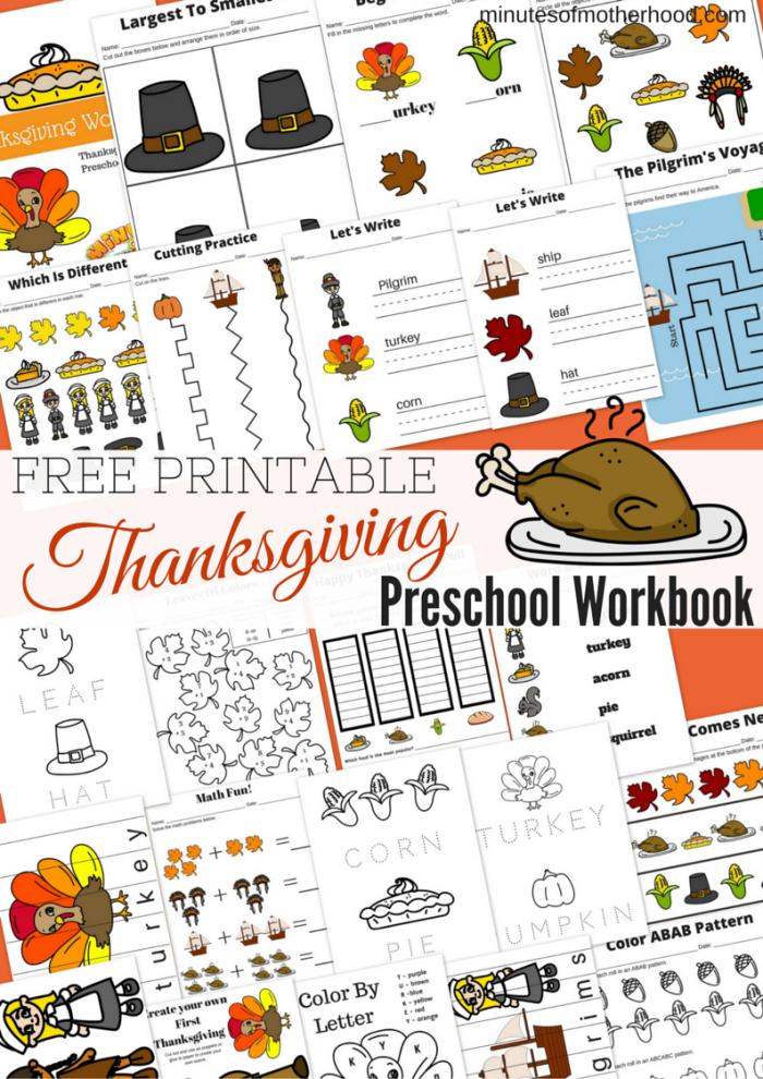 Free Printable Thanksgiving Day Preschool Workbook | Thanksgiving ...