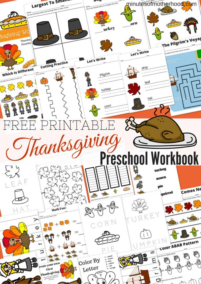 Free Printable Thanksgiving Day Preschool Workbook