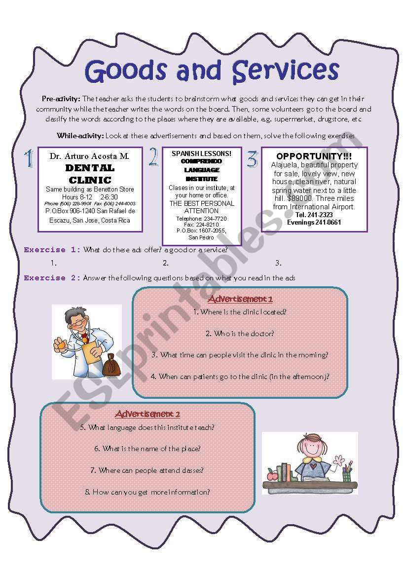Goods And Services Esl Worksheet By Vic Mon Goods And Services Worksheet Template Vocabulary Worksheets [ 1169 x 821 Pixel ]