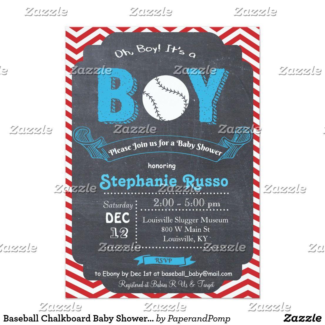 Baseball Chalkboard Baby Shower Invitation | Chalkboard baby ...