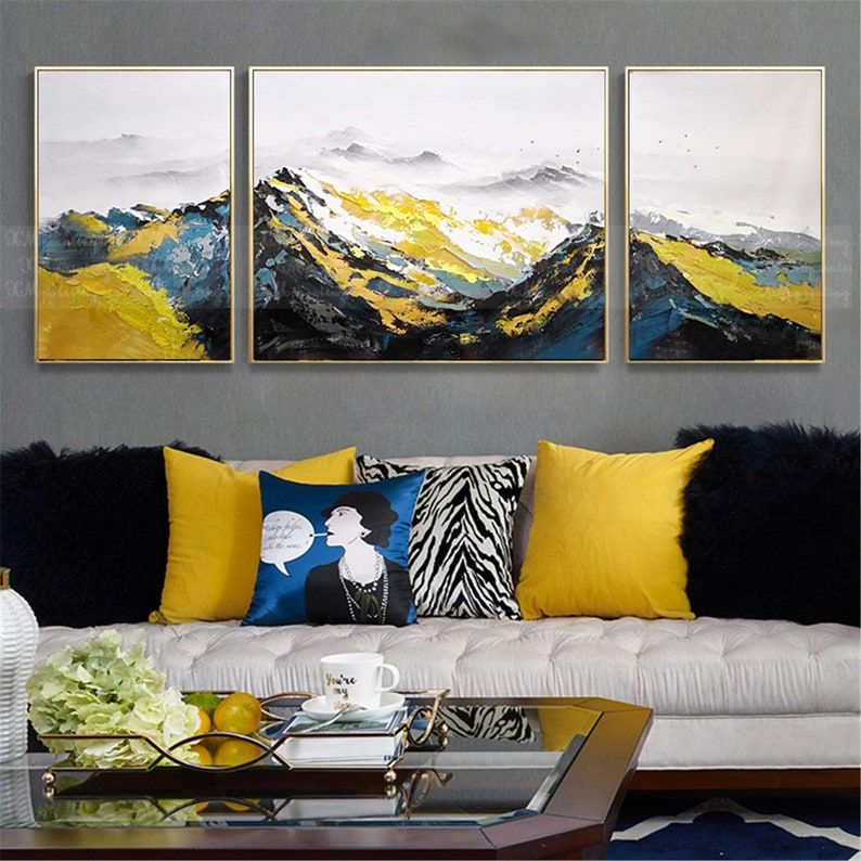3 Pieces Framed Abstract Painting Canvas Wall Art For Living Room Wall Decor Original Navy Blue Acrylic Handmade Texture Mountain Landscape Etsy Wall Art Wall Art Pictures Wall Canvas