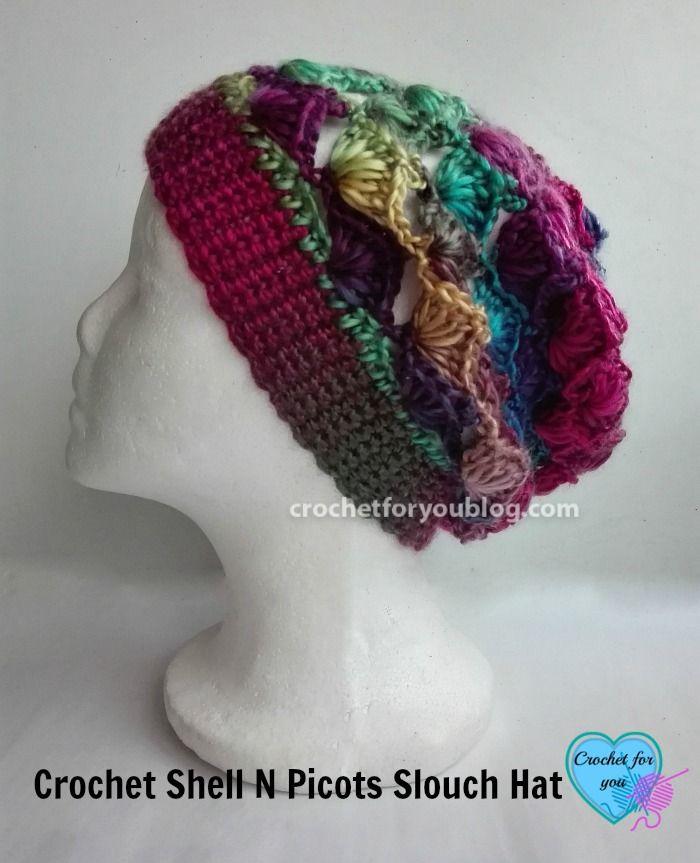 Crochet Shell N Picots Slouch Hat Free Pattern