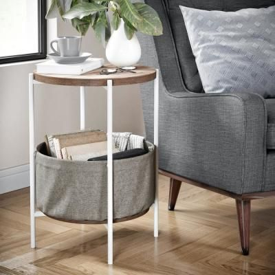 Nathan James Oraa Rustic Oak And White Metal Frame Side Table With