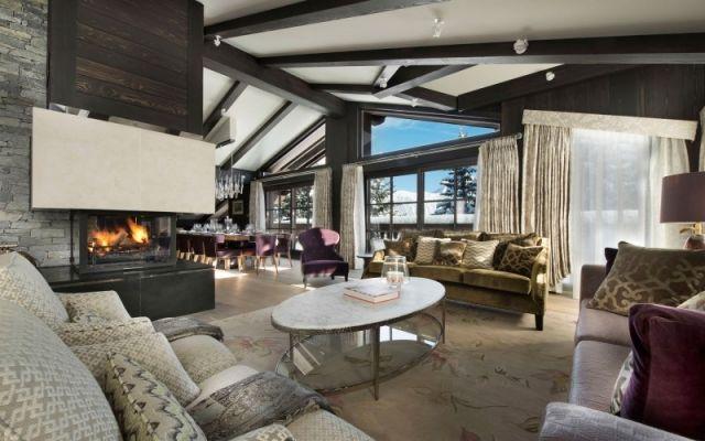 Luxus Chalet Wohnzimmer Loft Stil Kamin Heizeinsatz Dekorationen  Wohnlandschaft