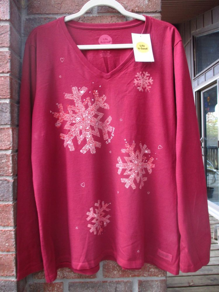 nwt life is good women s Vee t shirt xl crusher tee Snowflakes Holly Red  Holiday  fashion  clothing  shoes  accessories  womensclothing  tops (ebay  link) 094669685