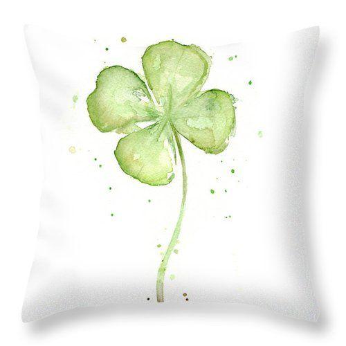 Four Leaf Clover Lucky Charm Throw Pillow for Sale by Olga Shvartsur