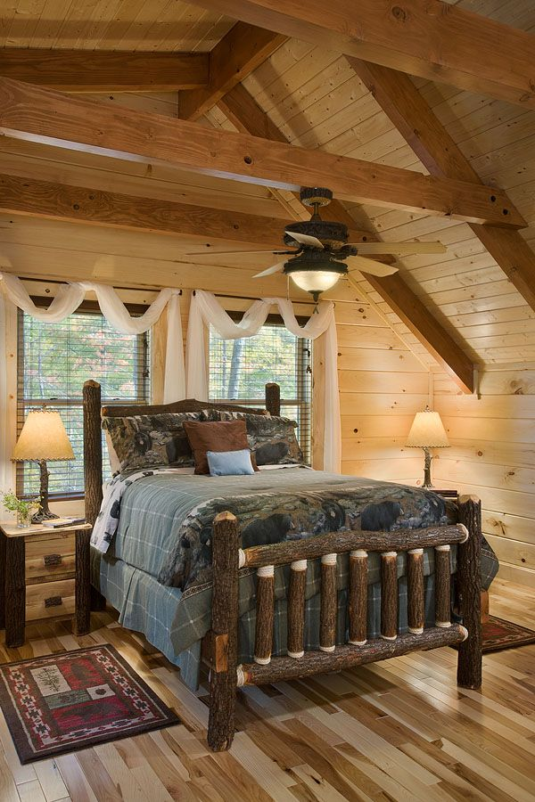The eagledale is one of honest abe s most popular plans - Log cabin bedroom decorating ideas ...