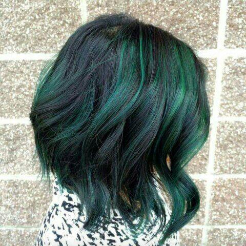 Green Highlights Hair Styles Green Hair Short Hair Color