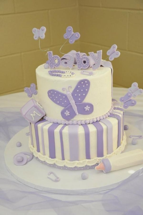 Purple Butterfly Baby Shower Cake, Very Cute And I Love Purple