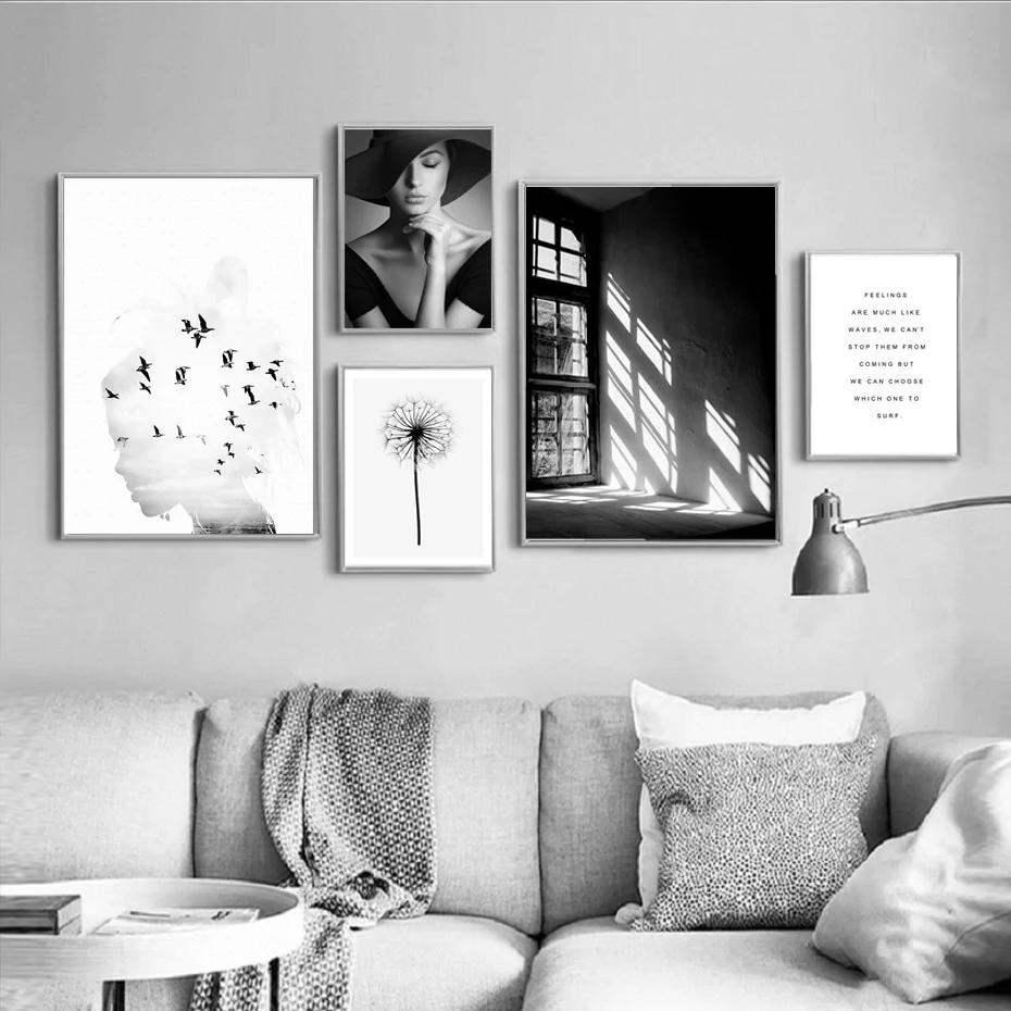 Black White Nordic Wall Art Gallery Wall Collection Scandinavian