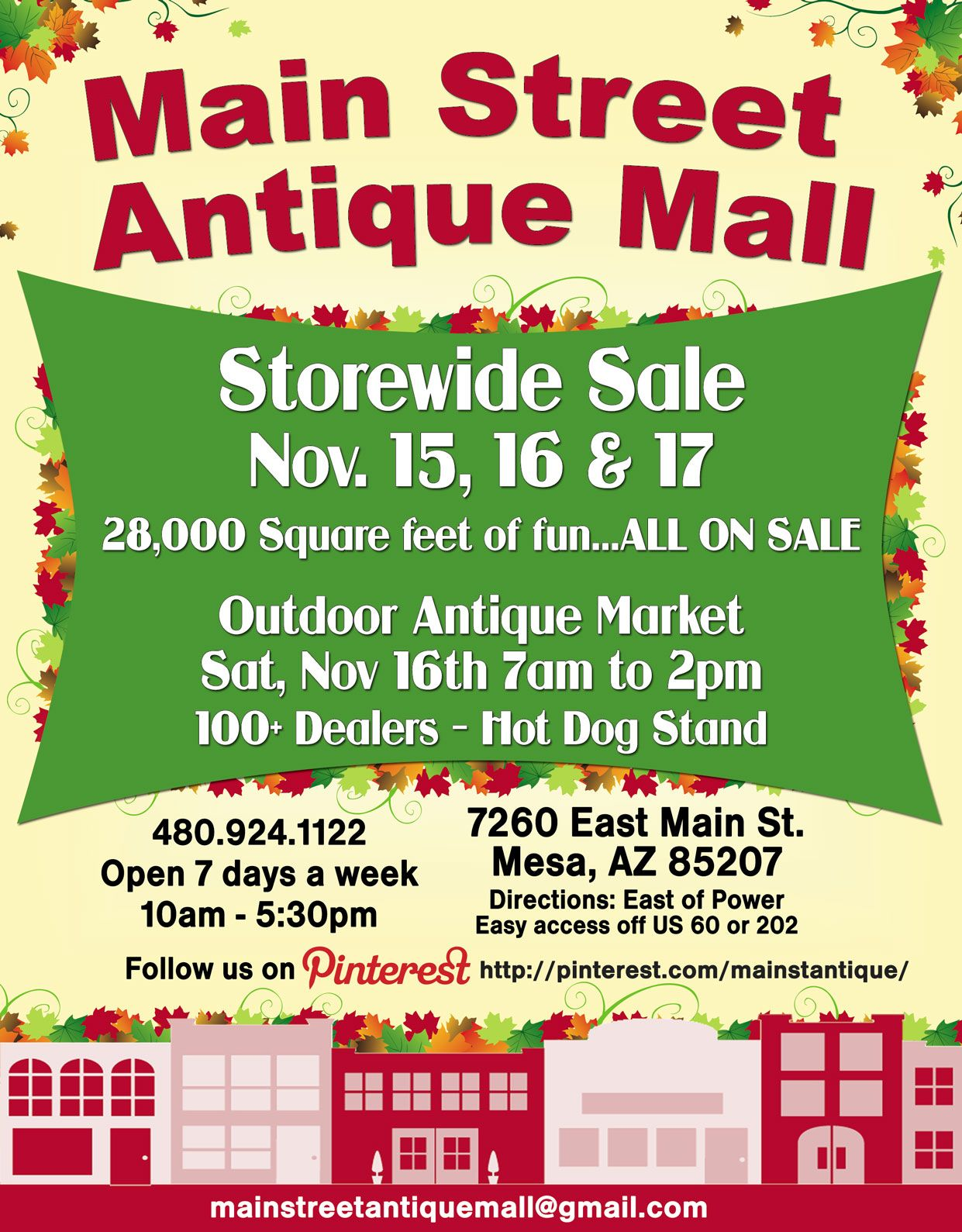 Don's miss our Storewide Sale November 15th, 16th & 17th
