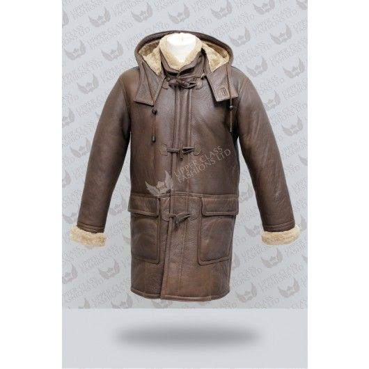 Mens Sheepskin Coat | Shearling Sheepskin Leather Duffel Coat ...