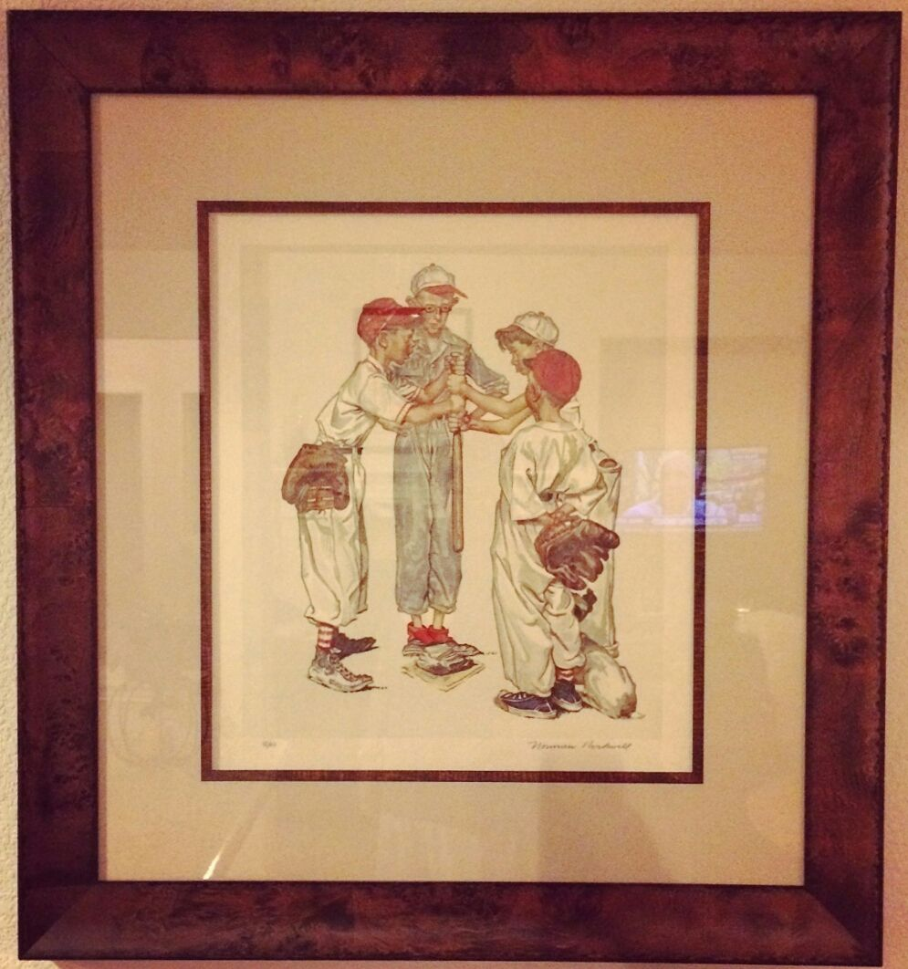 """""""Choosing Up"""" Limited Edition signed and numbered print by Norman Rockwell. Custom framed in @larsonjuhl's Florentina line with linen mat and fillet! Custom framed by FastFrame of LoDo. #art #customframing #pictureframing #denver #colorado #rockwell"""