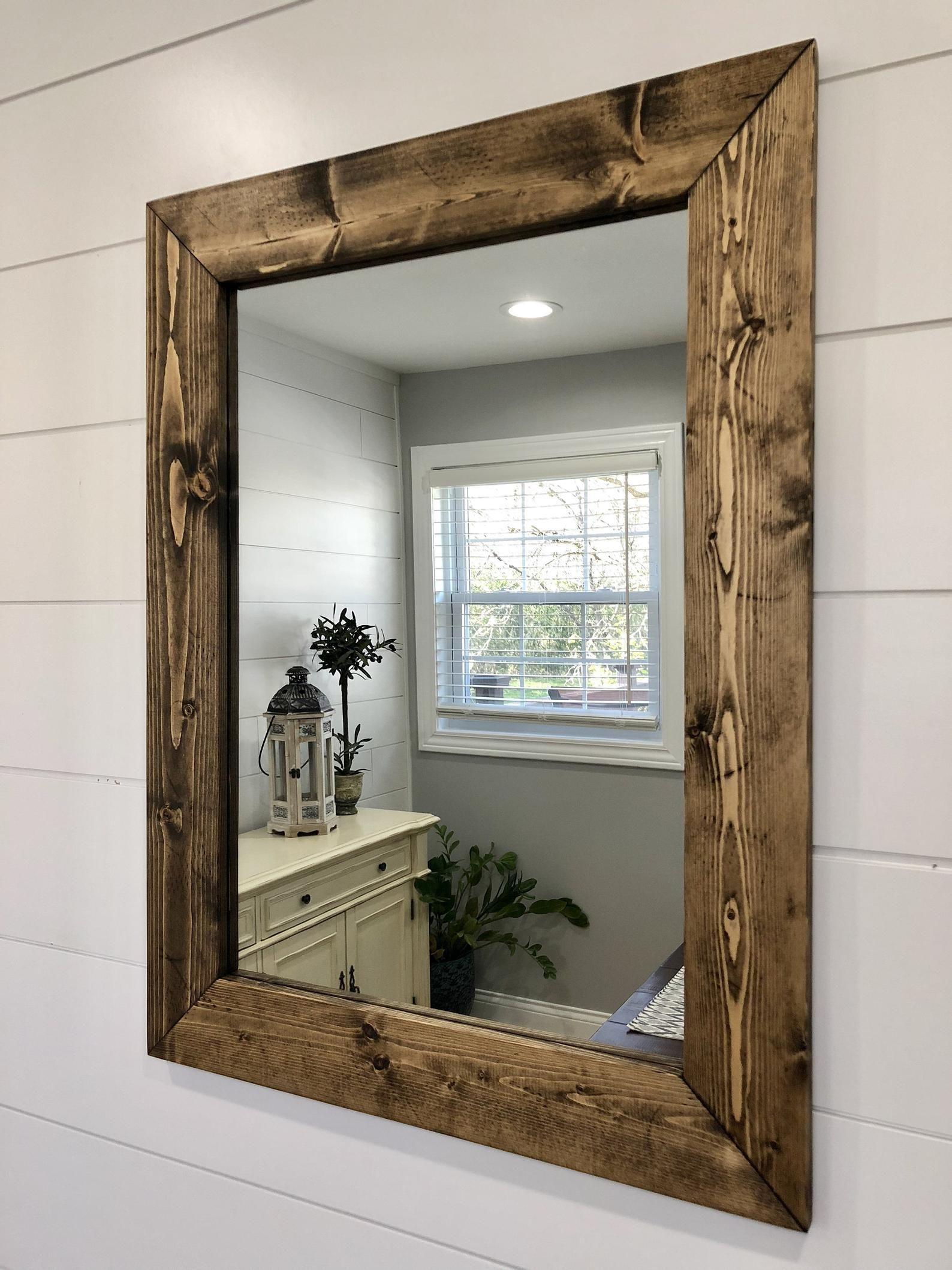Dark Walnut Mirror Wood Frame Mirror Handmade Rustic Wood Etsy Wood Framed Mirror Wood Mirror Rustic Wood Frame