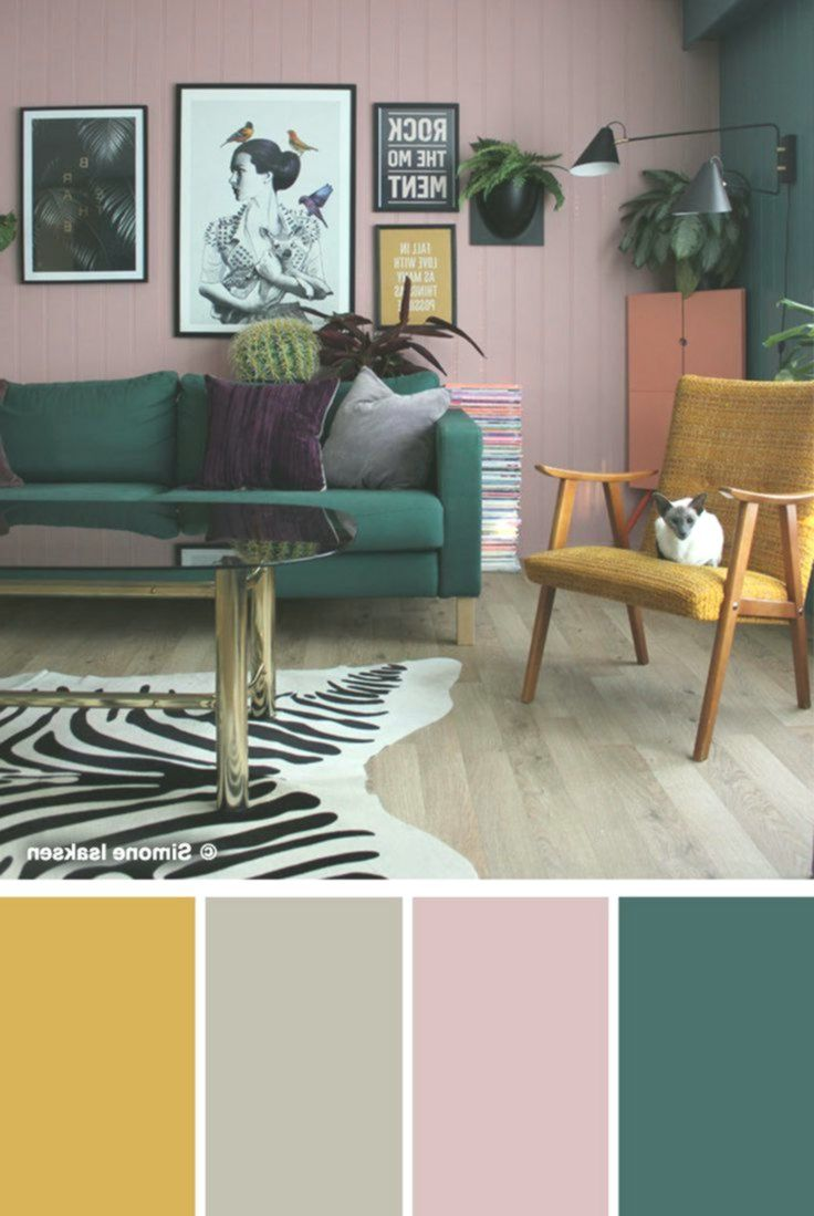 This lively living room features an all-over earthy taupe ...