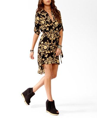 Forever 21 High-Low Shirt dress, love the fake versace print