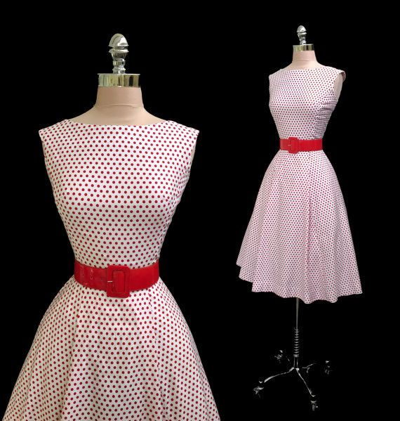 Vintage 1950s 1960s Red and White Polka Dot by CalendarGirlVintage
