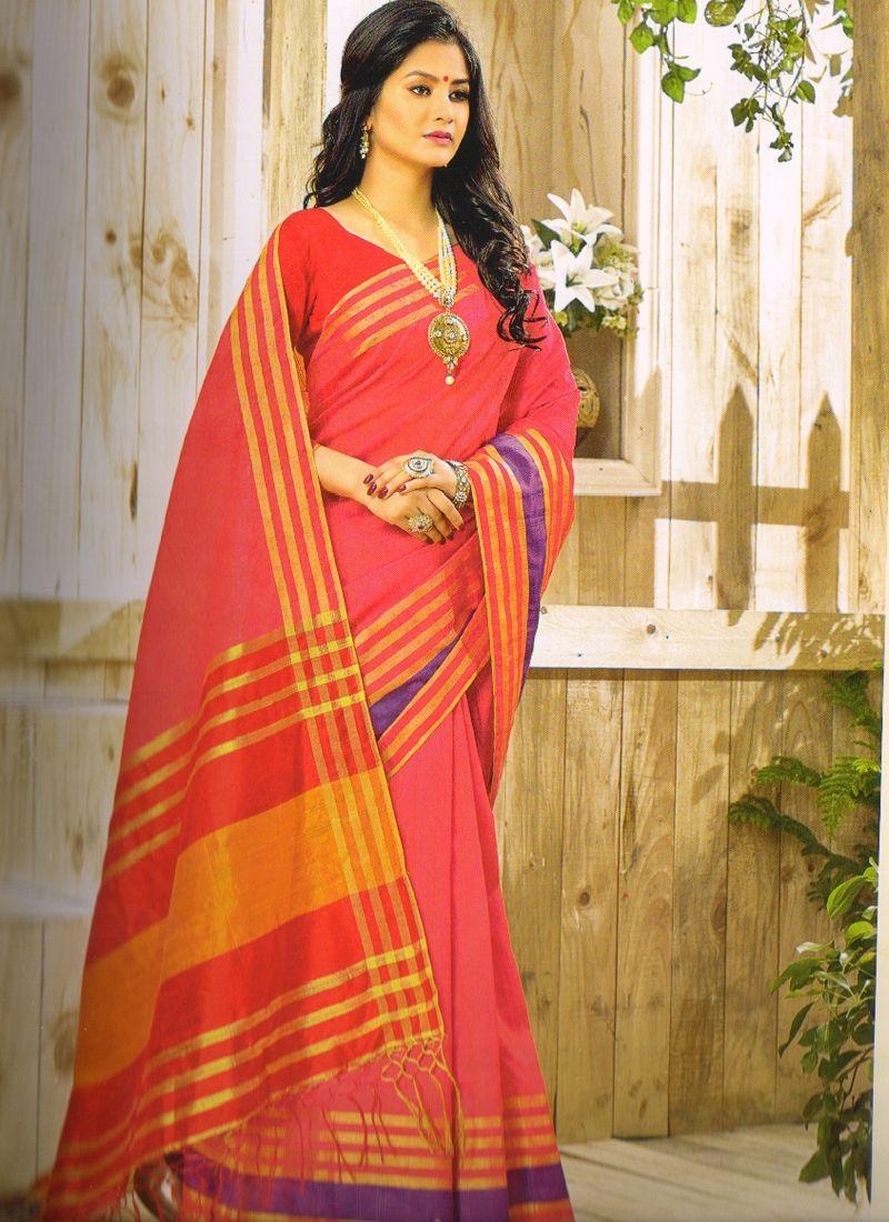 Yellow cotton saree for wedding shop pink printed banarasi khadi cotton saree online  sarees