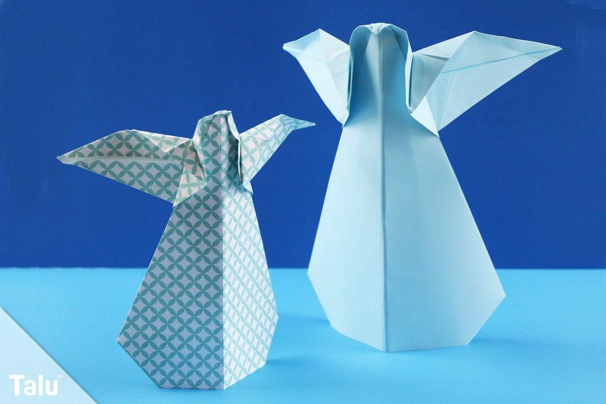 Origami Engel falten - Anleitung für einen Faltengel aus Papier - Talu.de #origamianleitungen