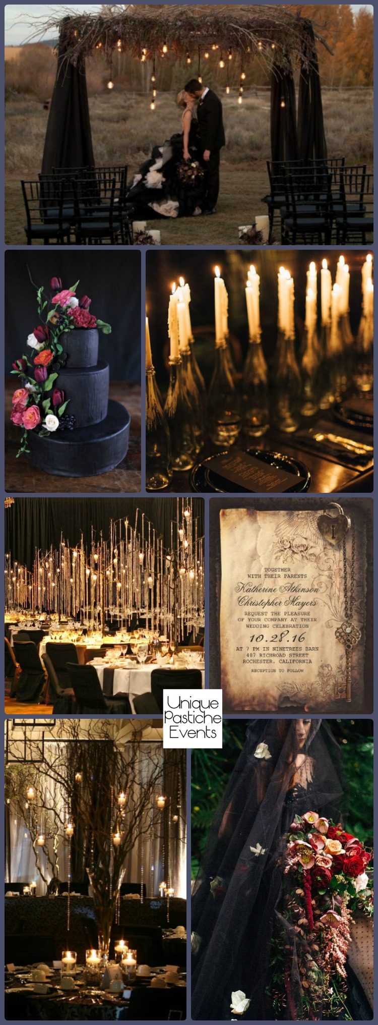 Rustic Goth Wedding by Candlelight – Halloween Wedding Ideas #Bruiloft #Candlelight #Goth #Halloween