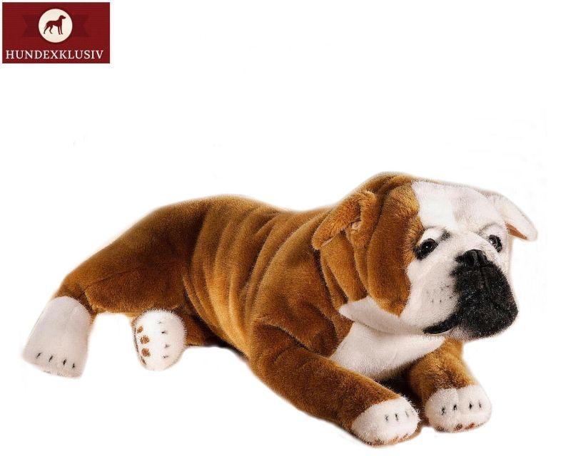 Plüschhund Englische Bulldogge  Ein besonders knuffiges Design hat die Manufaktur Kösen mit dem Plüschhund Englische Bulldogge entworfen. Hochwertige Materialien zeichnen den Vierbeiner mit dem Namen Leonardo aus.