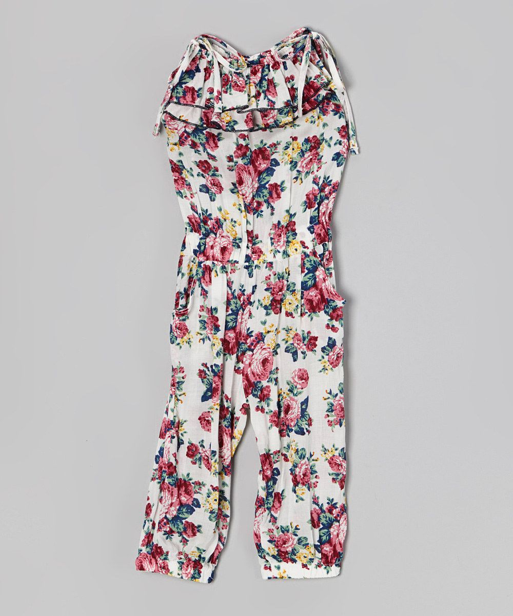 Love this White & Red Floral Ruffle Tie Jumpsuit - Toddler & Girls by Di Vani on #zulily! #zulilyfinds