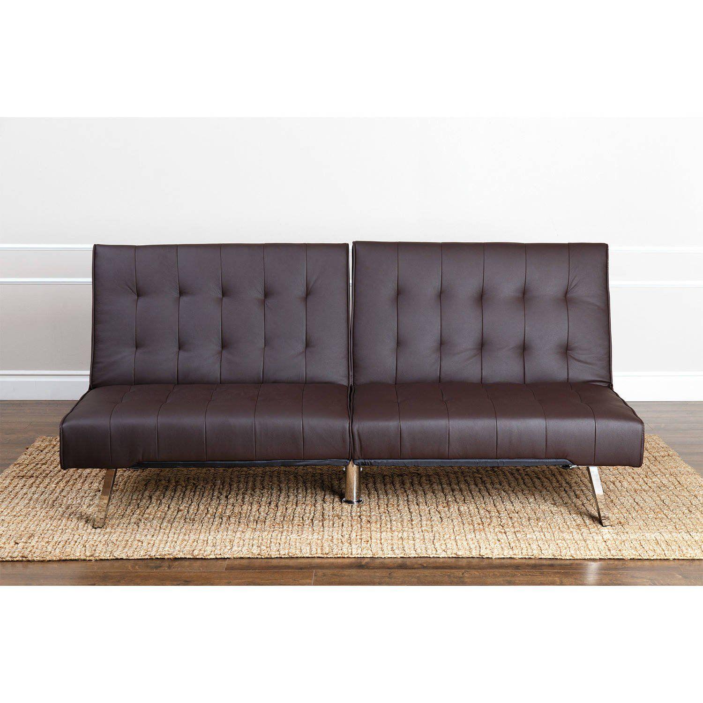 Dark Brown Tufted Leather Foldable Futon Wood Chrome Legs