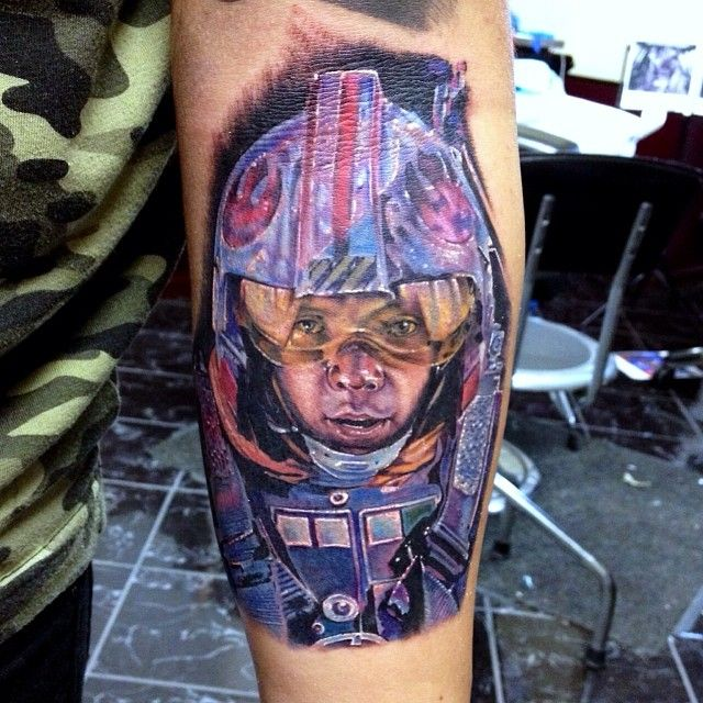 """Little Rouge #Squadron piece added to a #StarWars #sleeve we r doin bout 5 inches tall"" - Cecil Porter Tattoos (Portland, OR)   Do you like Star Wars? www.facebook.com/Tattooedink FOLLOW BLOG: http://tattooedpage.tumblr.com/ #tattoos #tattoo #tattooed #art #ink #artist #realistic #realism #tattooartist #awesometattoos #besttattoos #blackandgreytattoos #colortattoos #followme #cecilporter"