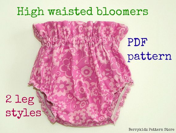 High waisted baby bloomer pattern, Baby diaper cover pattern, Ruffle ...