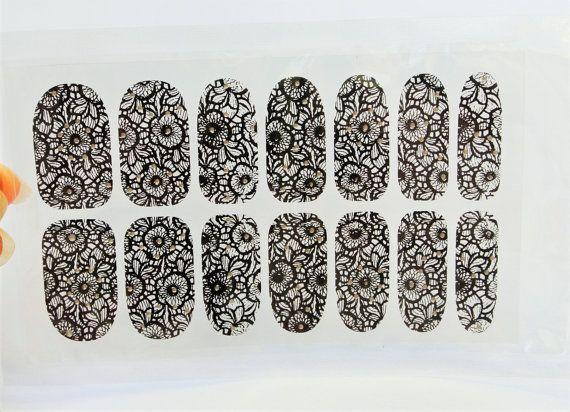 Lace Nails,Kawaii Nails,3D nail art,Nail wrap,Lace Nail Sticker,Nail Design,Black Nail Art,Floral Nails,Wedding Nail art,Lace Nail Decal
