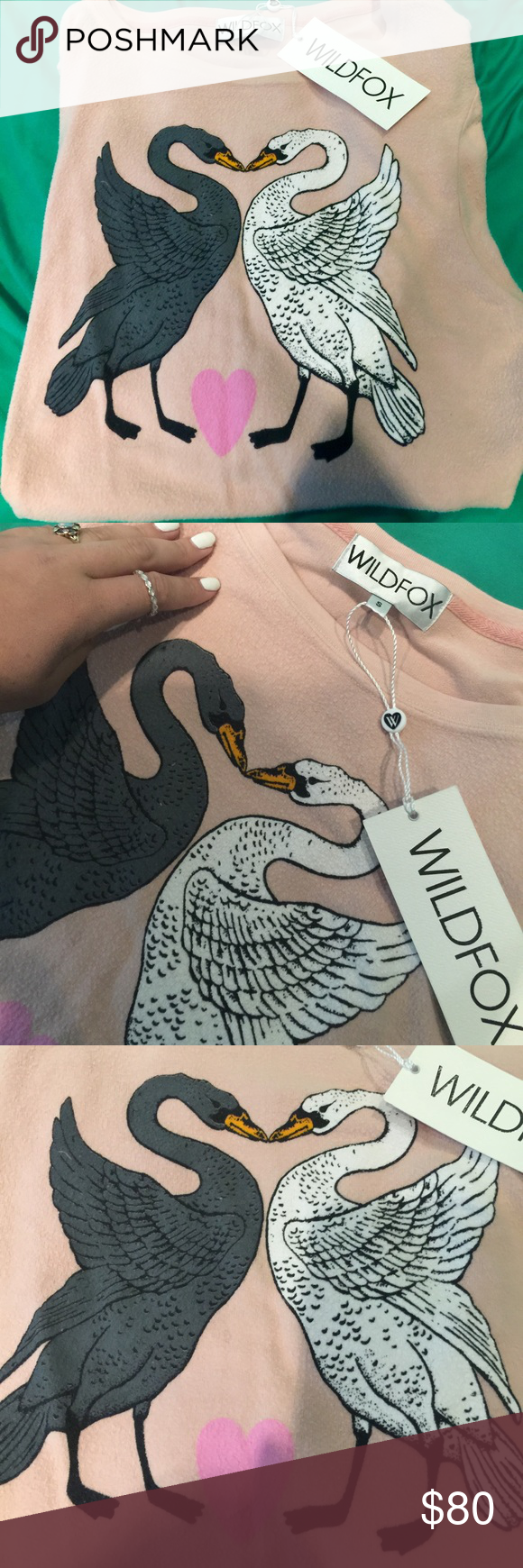 Wildfox Swan's Kissing Baggy Beach Jumper Adorable Wildfox baggy beach jumper. So soft never worn just tried on. Downsizing my Wildfox collection because I have too much and I'm a broke college student. Size small but can fit medium depending on desired fit Wildfox Sweaters