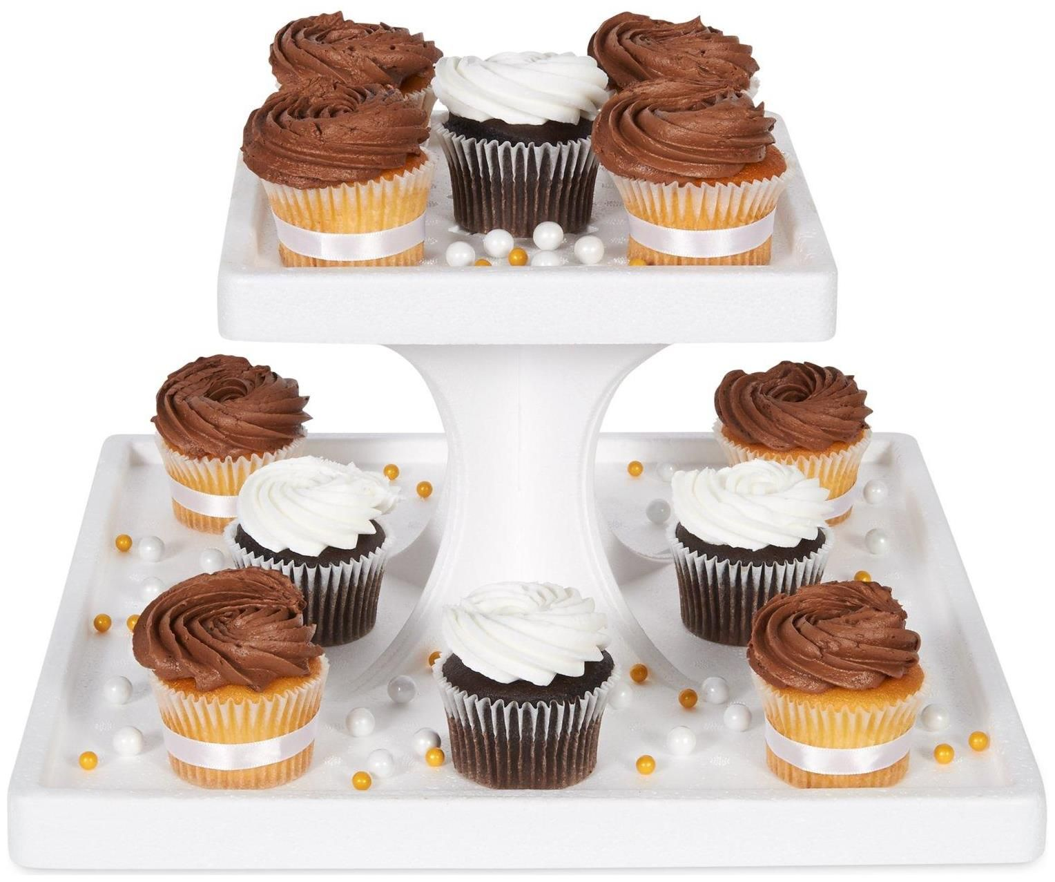 2 tier square cupcake stand square
