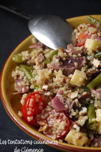 cl mence a r alis une salade de quinoa gourmand g siers haricots verts tomates et comt. Black Bedroom Furniture Sets. Home Design Ideas