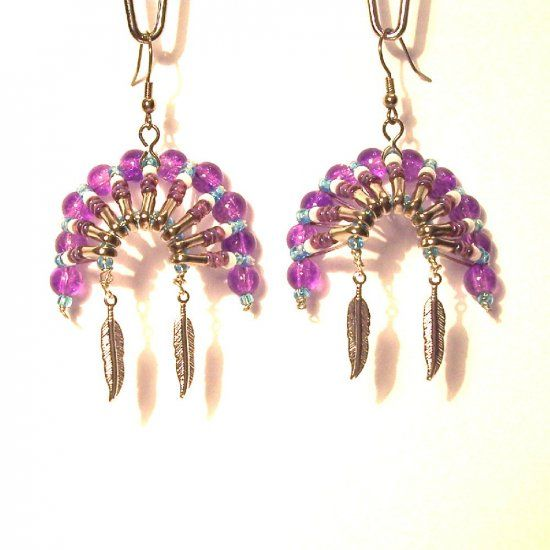 07094 Beaded Art Native American Headdress Earrings