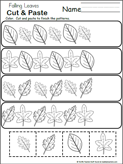 Free Pattern Worksheet For Kindergarten Fall Leaves