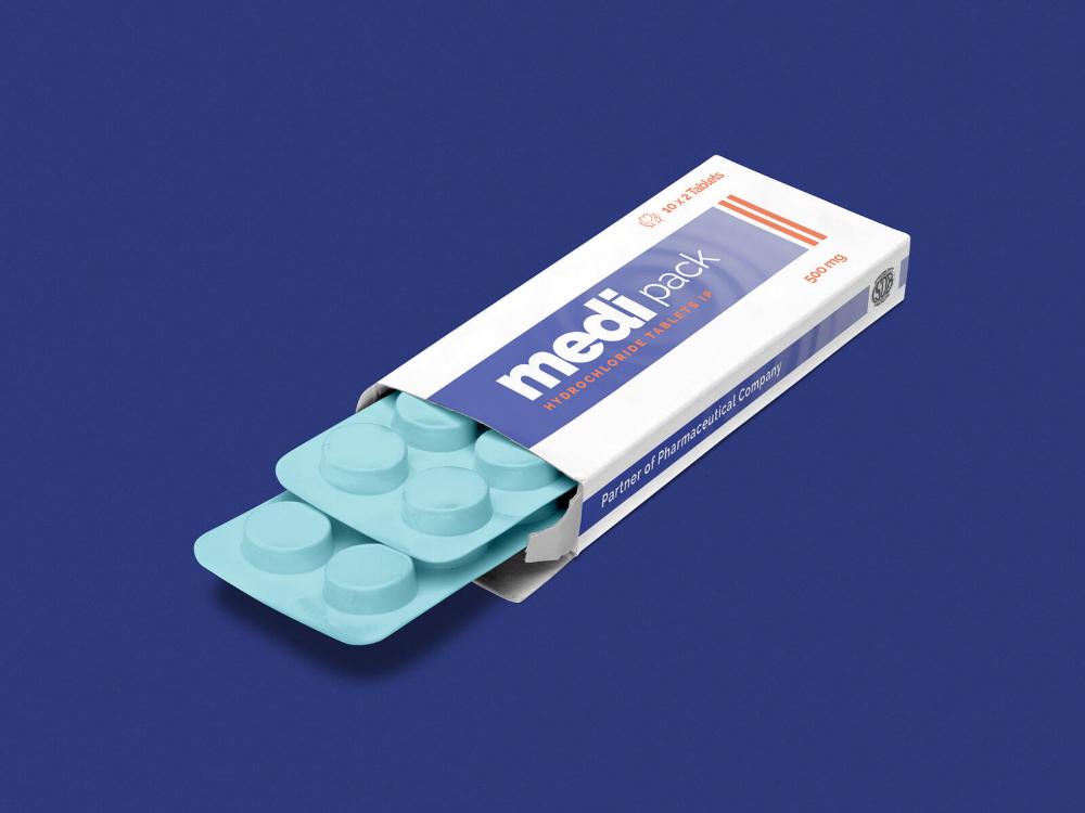 Download Free Pharmaceutical Medicine Tablet Box Packaging Mockup Psd Pill Packaging Packaging Mockup Box Mockup