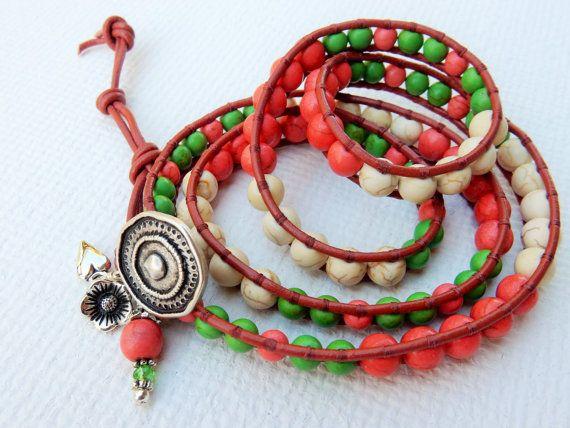 Desert Cactus  Wrap Bracelet Handmade 4 Row Wrap by H2HJewelry